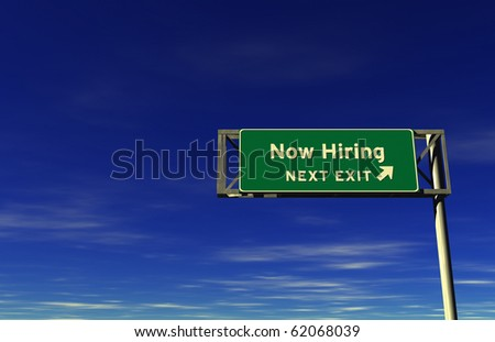 Freeway sign, next exit... Now Hiring! - stock photo