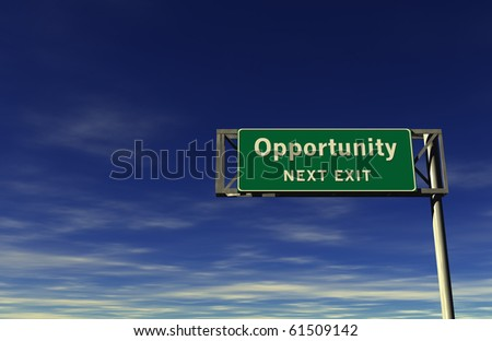 Freeway Sign - Opportunity! - stock photo