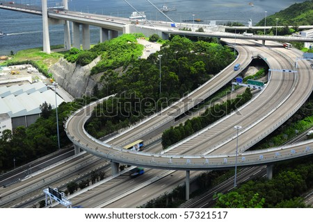 freeway system - stock photo