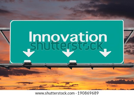 Freeway to Innovation Road Sign - stock photo