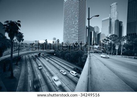 Freeway traffic in downtown Los Angeles - stock photo