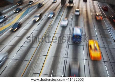 Freeway Traffic with motion blur - stock photo