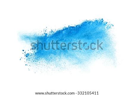 Freeze motion of blue dust explosion isolated on white background - stock photo