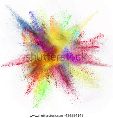 Freeze motion of colored dust explosion isolated on white background. - stock photo