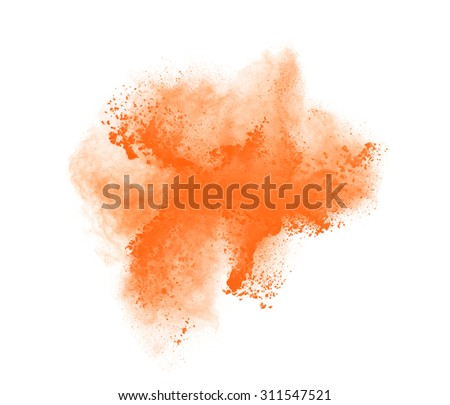 Freeze motion of orange powder exploding, isolated on white. Abstract design.  - stock photo