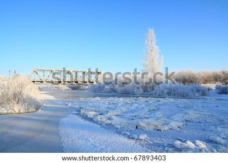 freeze river - stock photo