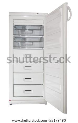 freezer with open door isolated on white - stock photo