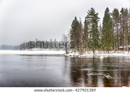 Freezing cold waters of a lake, forest covered with snow in background