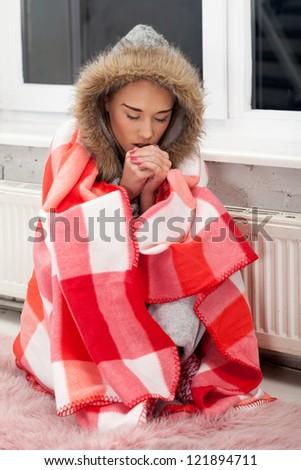 Freezing girl - stock photo