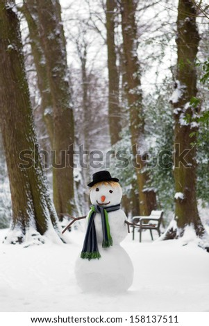 Freezing snowman standing in the park wearing a hat - stock photo