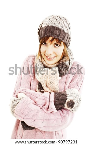 Freezing teenage girl, isolated on white background - stock photo