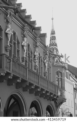FREIBURG, GERMANY  Detail of the Historical Merchants' Hall (Historisches Kaufhaus) - stock photo