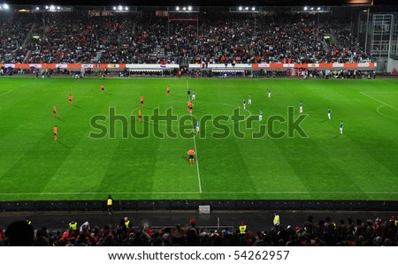 FREIBURG, GERMANY - MAY 26: Mexico vs. Holland international friendly soccer match before the 2010 world cup  on May 26, 2010 in  Freiburg, Germany - stock photo