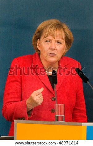FREIBURG, GERMANY - SEPT 3 : German Chancellor Angela Merkel gives a speech on September 3, 2009, Freiburg, Germany - stock photo