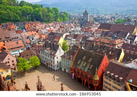 Freiburg im Breisgau city, Baden-Wuerttemberg state, Germany. Skyline view from Freiburg Cathedral - stock photo