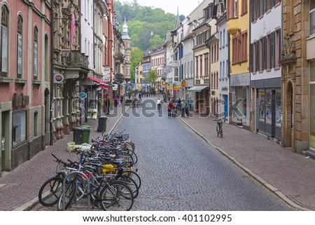 FREIBURG im BREISGAU, GERMANY - MAY 1, 2013: Old town street in Freiburg im Breisgau, a city in the south-western part of Germany in the Baden-Wurttemberg state