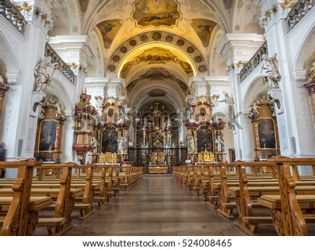 FREIBURG - OCTOBER 10: Interior architecture of Abbey of Saint Peter of Schwarzwald (Black Forest) in Freiburg, Germany, on October 10, 2016.