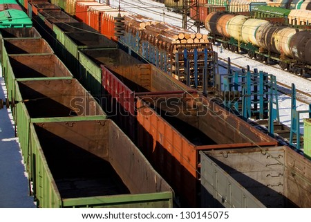 Freight cars on a railway station - stock photo