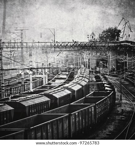 Freight cars vintage photo - stock photo