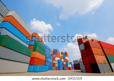 freight containers at the docks ready for shipping - stock photo