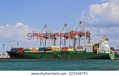 Freight Containers in cargo container ship - stock photo