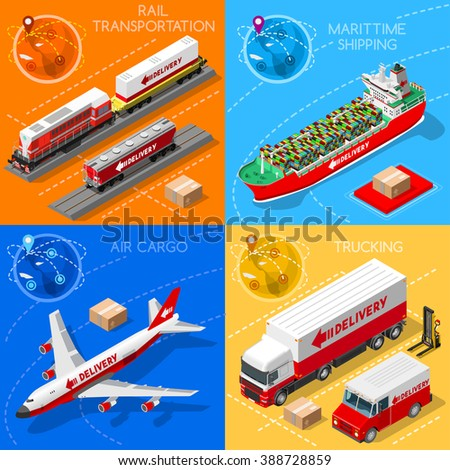 Freight Delivery Infographic. Global Trade. Logistics Transportation Vehicles 3D Isometric Objects Maritime Cargo Ship Truck Van Train Air Plane Illustration Collection.Fast Delivery Worldwide. - stock photo