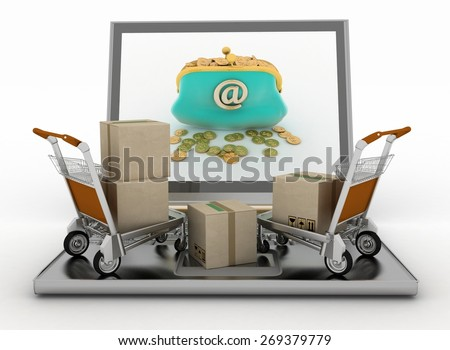 Freight light carts and laptop. The concept of buying commodities on the Internet - stock photo