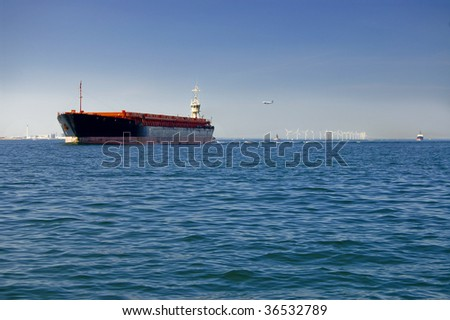 Freight ship and blue sea
