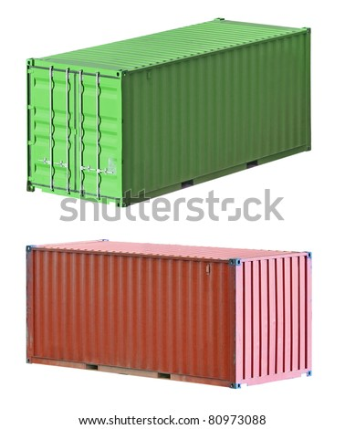 Freight shipping containers isolated on white background, set - stock photo
