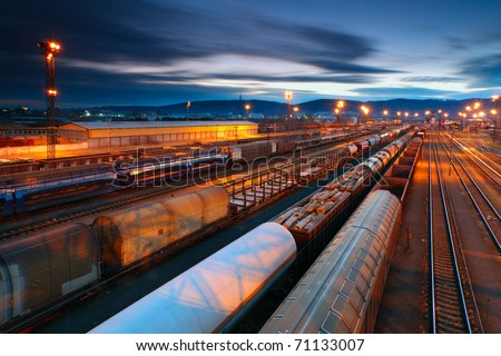 Freight Station with trains - stock photo
