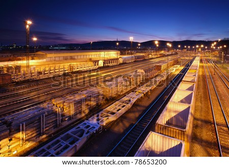 Freight Station with trains at night