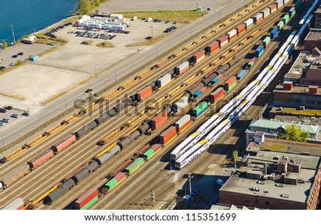 Freight Station with trains, carriages and oil-cars, tank-cars. View from above. - stock photo