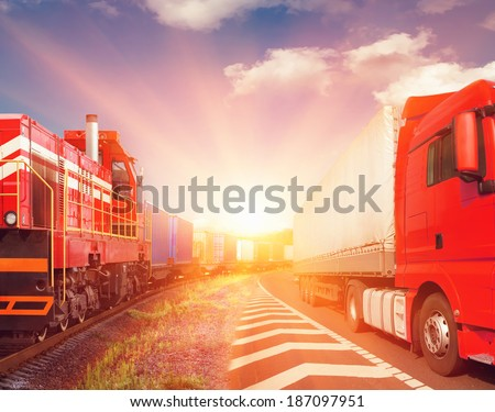 freight train and truck as transportation concept - stock photo