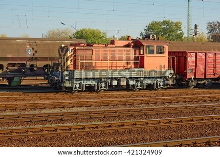 Freight train at a terminal - stock photo