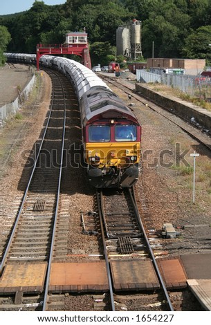 Freight train at Hexham station - stock photo