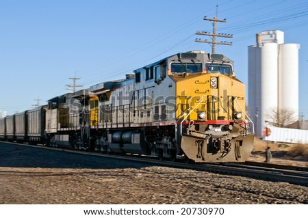 Freight train hauling coal to points south - stock photo