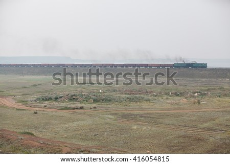 freight train in the desert Cargo - stock photo