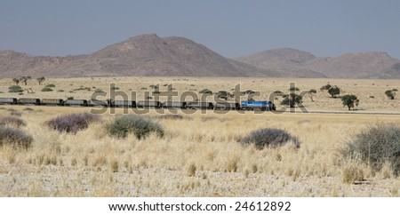 Freight train in the desert in Namibia