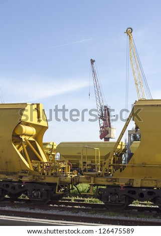 Freight train junction - stock photo