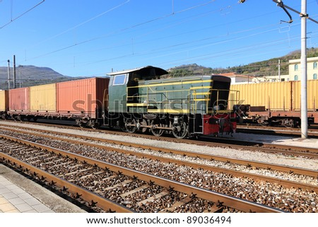 Freight train on cargo station - stock photo