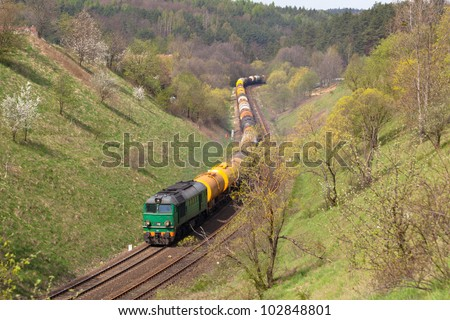 Freight train passing the countryside
