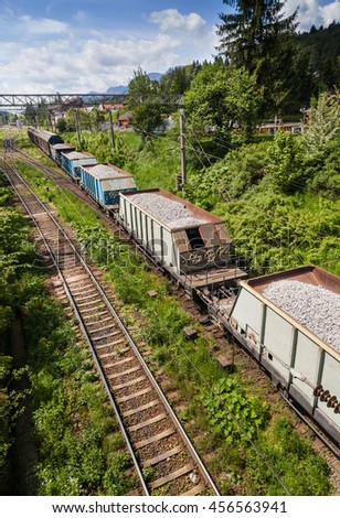 Freight train viewed from above - stock photo