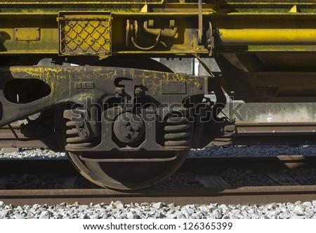 Freight train wheel detail - stock photo