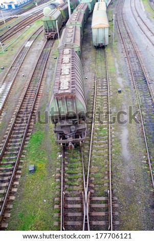 Freight train with color cargo containers - stock photo