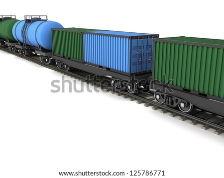 Freight train with wagons for the transport of containers and oil - stock photo