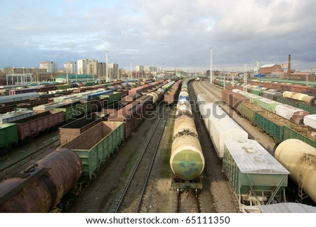 Freight trains at a station - stock photo