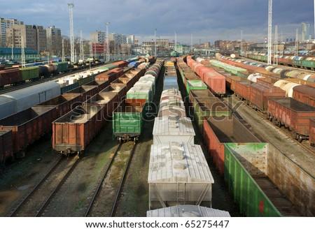 Freight trains on city cargo terminal - stock photo