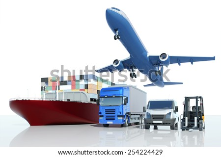 Freight transport and logistics at express company with different types of vehicles (3D Rendering) - stock photo