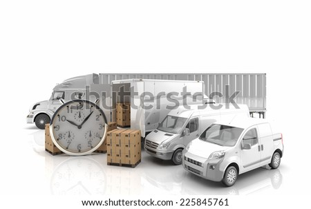 Freight transport by road - 3D Render - stock photo