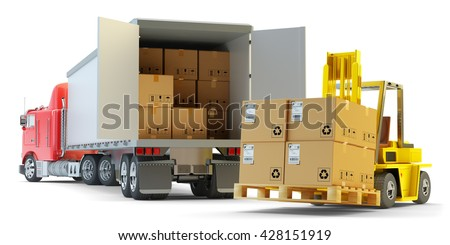 Freight transportation, packages shipment, warehouse logistics and cargo loading and unloading concept, delivery truck with cardboard boxes and forklift with pallet isolated on white, 3d illustration - stock photo